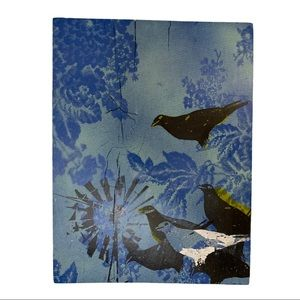 Bird painting on wooden block Blue and black